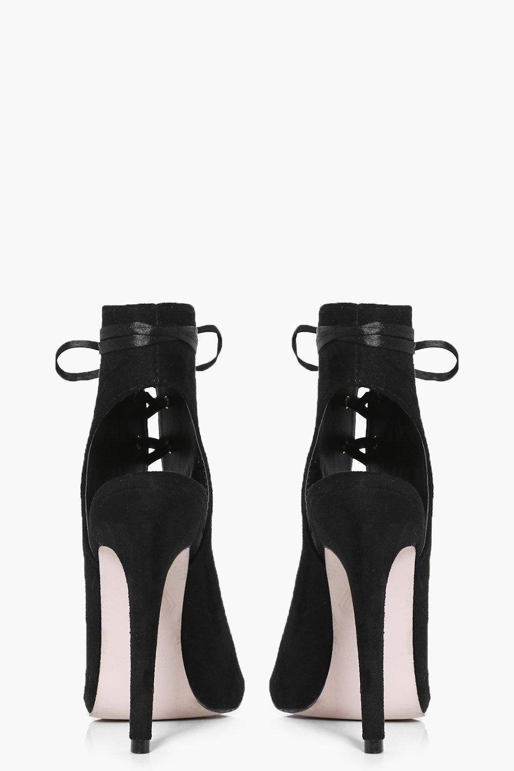 Boohoo Synthetic Eleanor Ribbon Lace Up Shoe Boot in Black