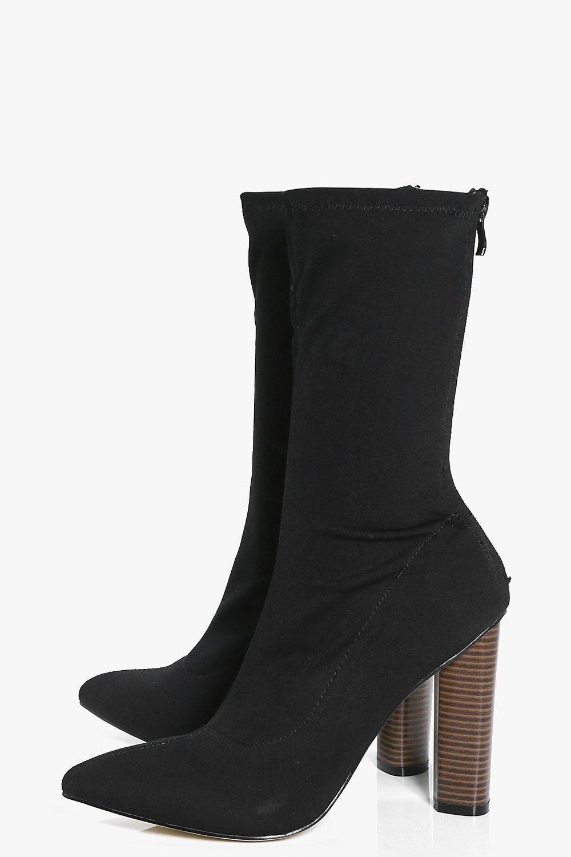 Boohoo Synthetic Natasha Stretch Sock Boot in Black