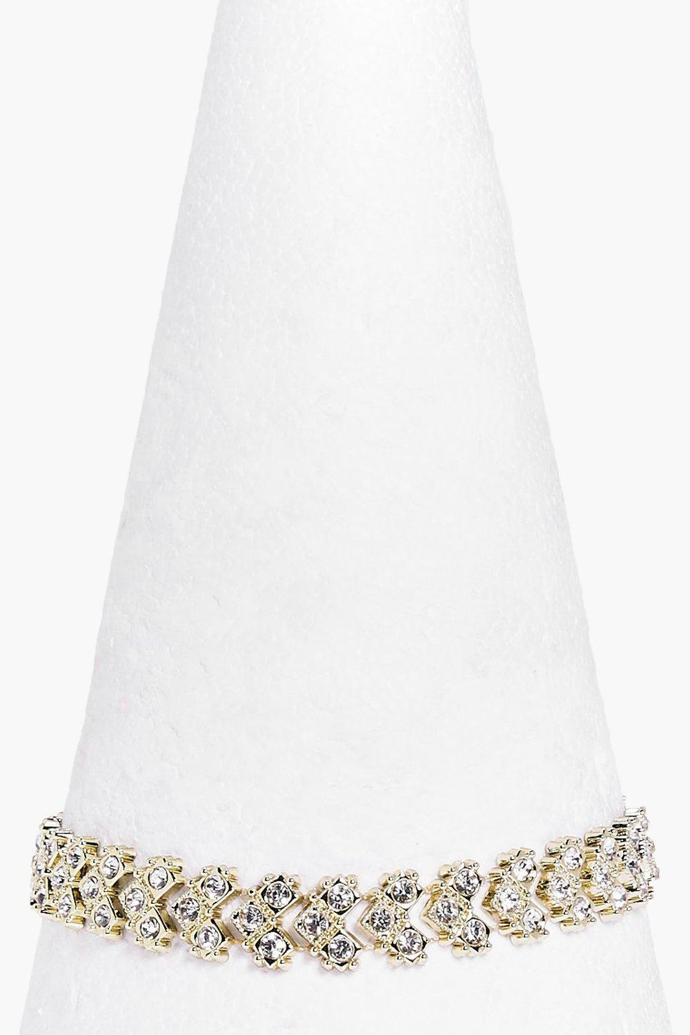 Boohoo Chevron Diamante Embellished Choker in Gold (Metallic)