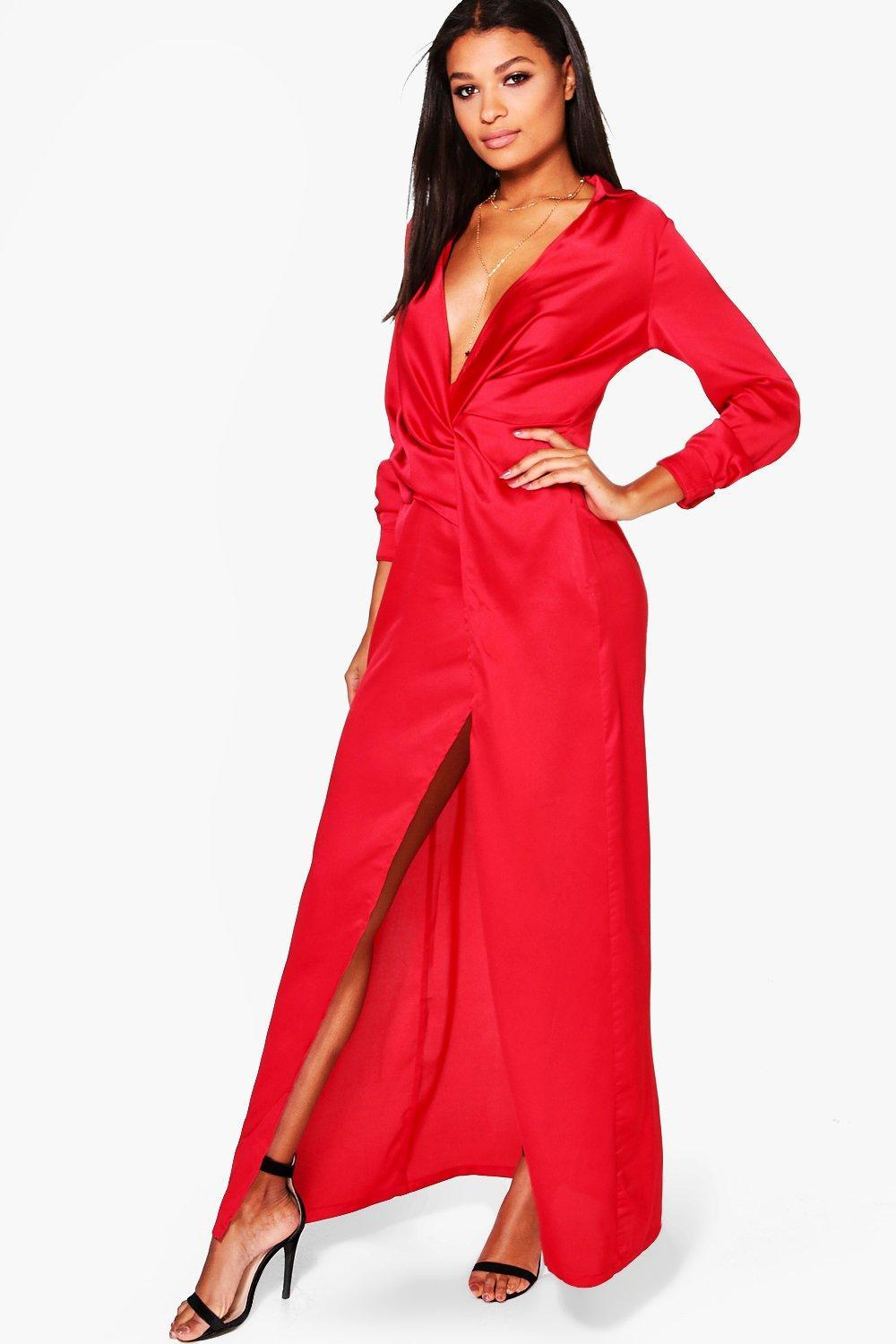 178a320ef72b Boohoo Boutique Iona Satin Wrap Detail Maxi Dress in Red - Lyst