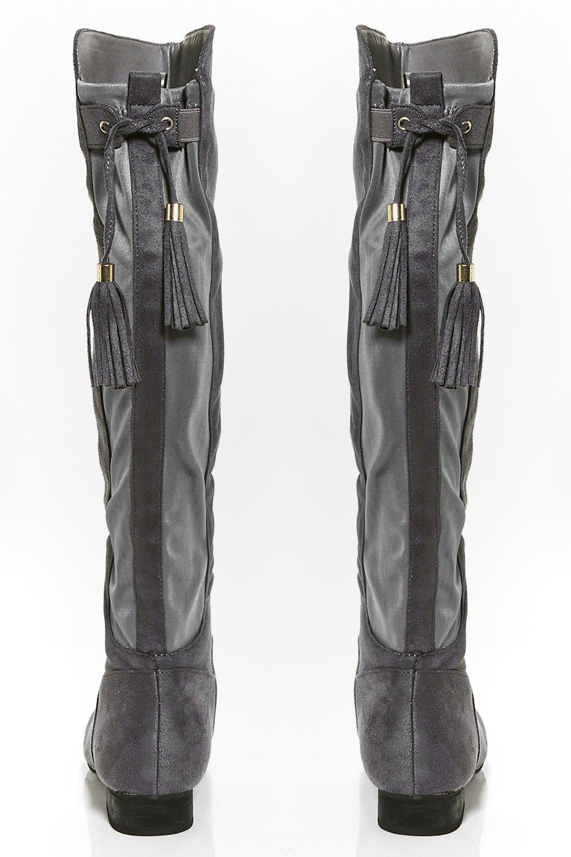 Boohoo Heidi Flat Tassel Tie Knee Boot in Grey (Grey)