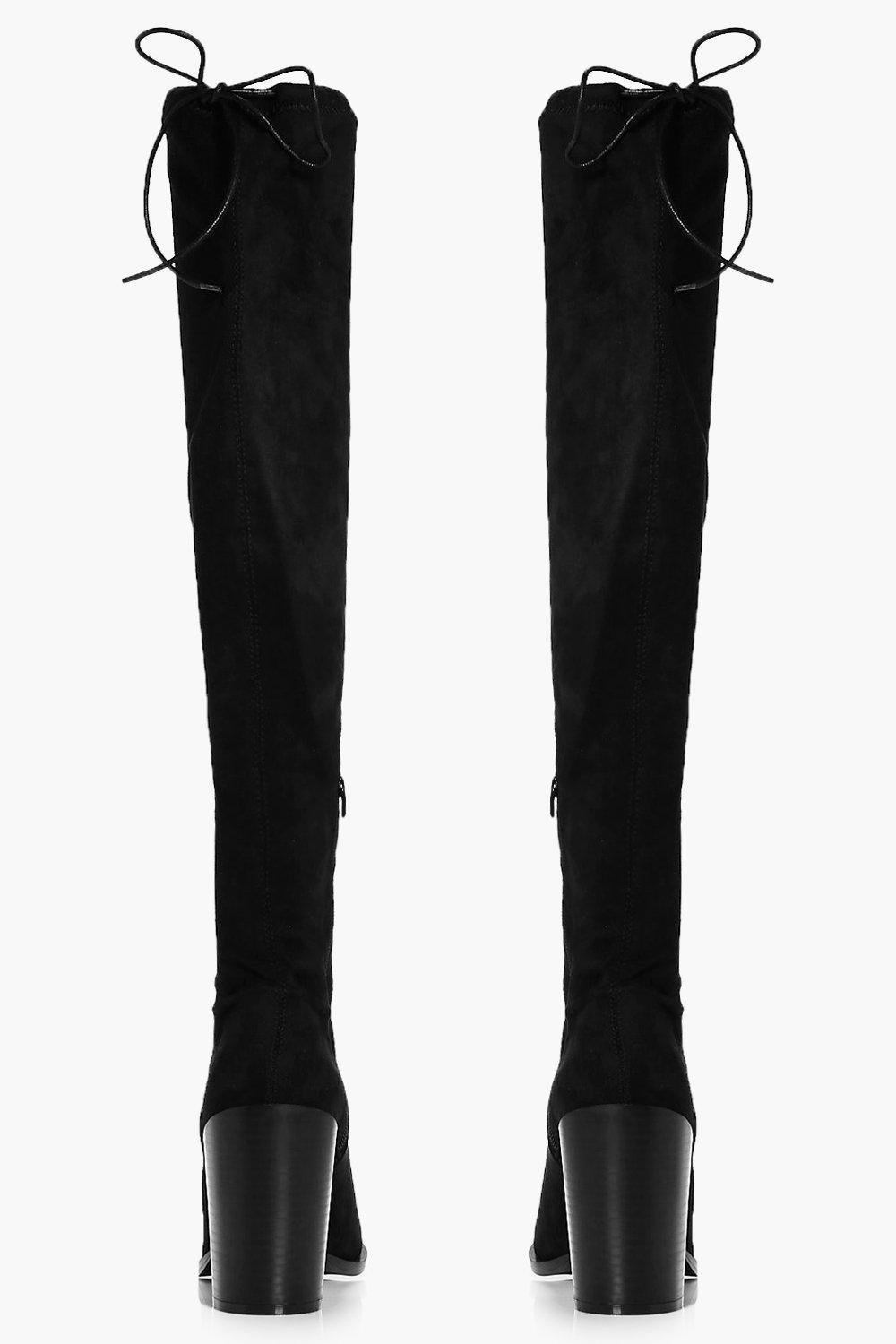 Boohoo Synthetic Tia Pointed Block Heel Over The Knee Boot in Black
