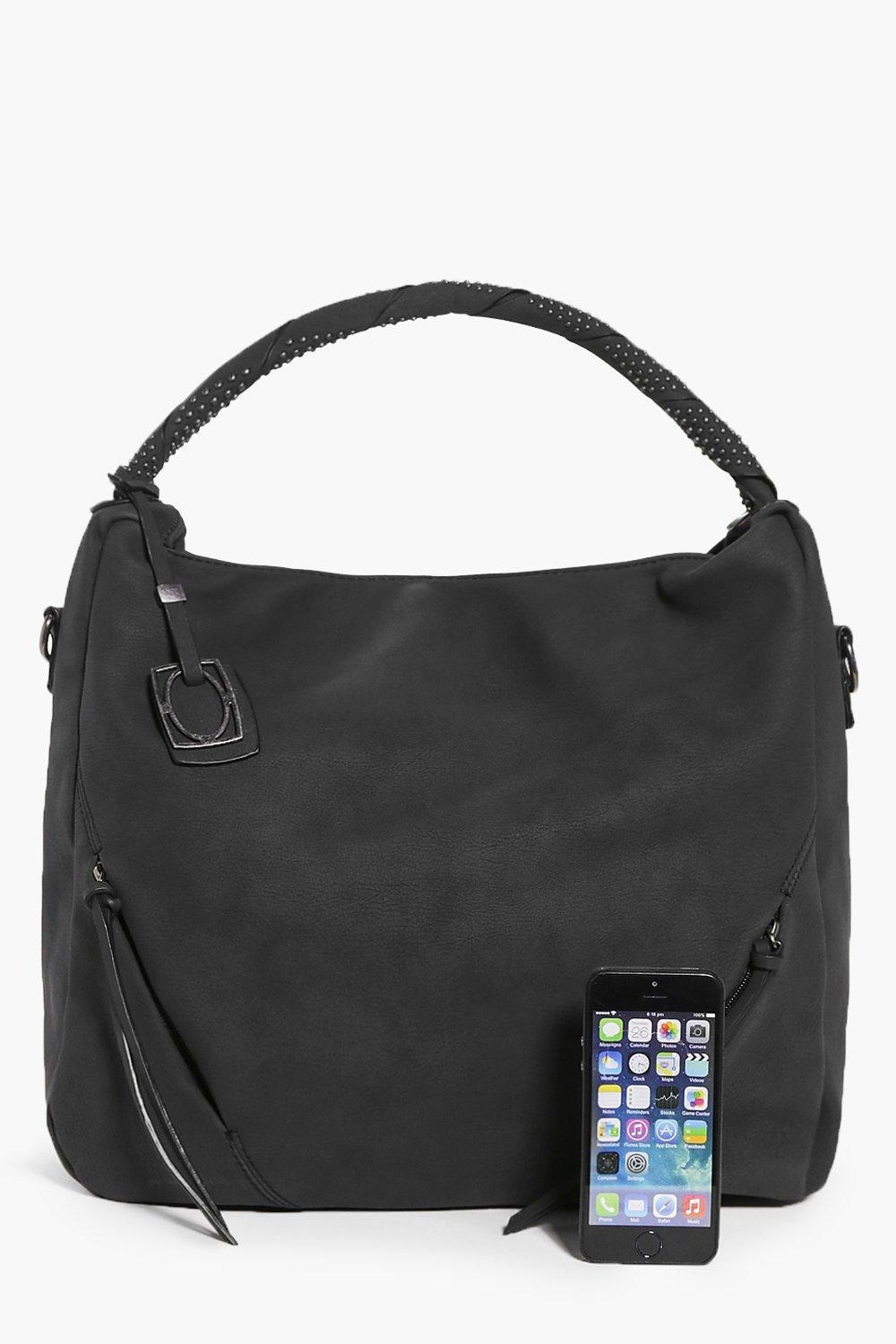 Boohoo Emilia Studded Zip Front Detail Tote Bag in Black