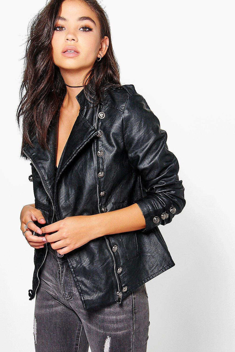 Leather jacket boohoo - Gallery Women S Military Jackets