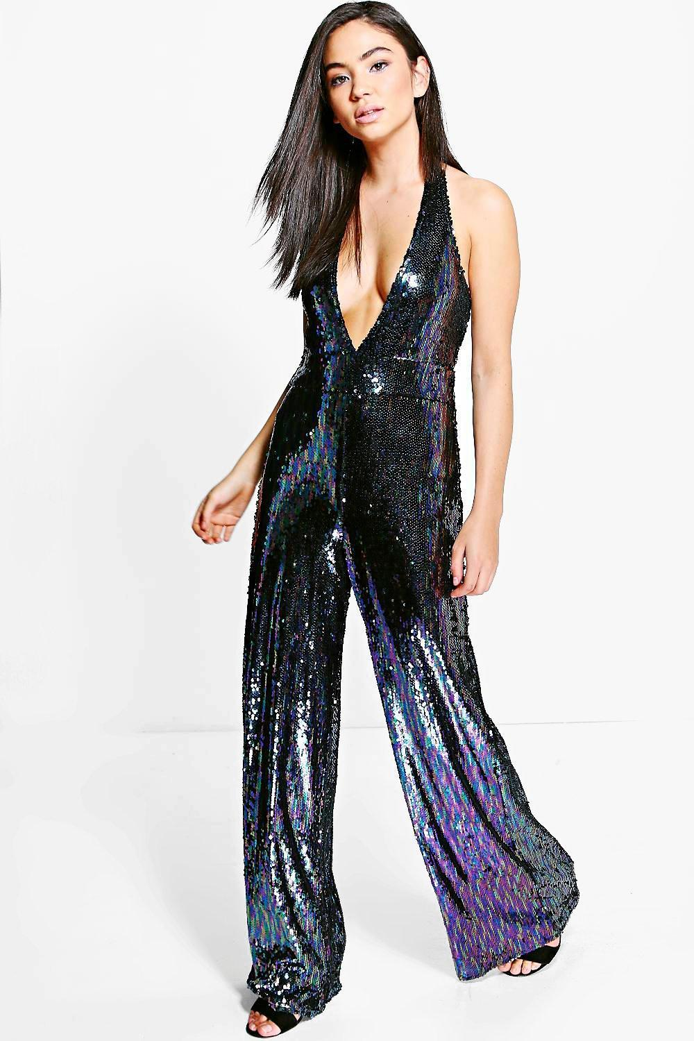 bb2661393a Lyst - Boohoo All Over Sequin Halter Neck Jumpsuit