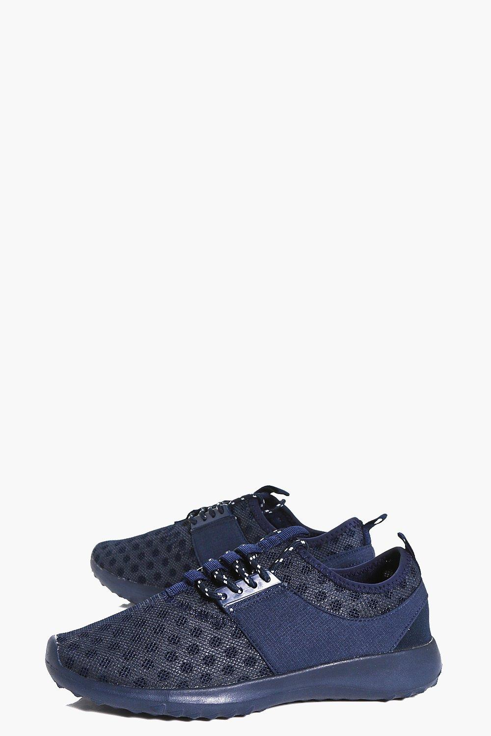 Boohoo Denim Lilly Polka Mesh Lace Up Trainer in Navy (Blue)