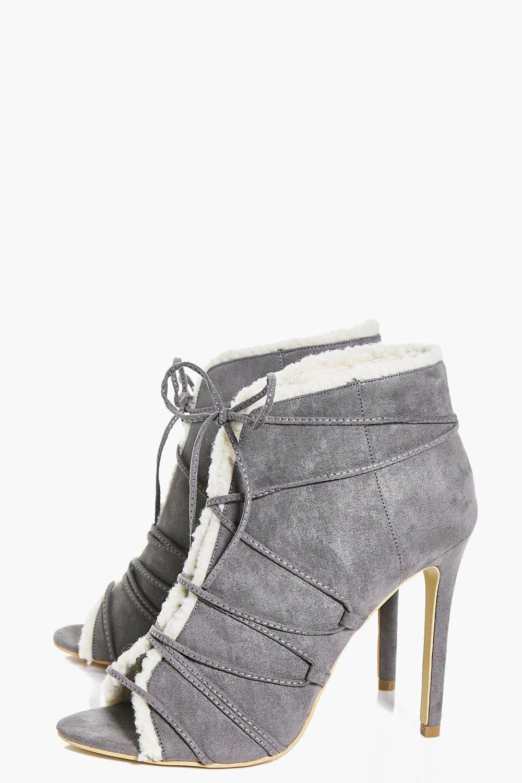 Boohoo Synthetic Jess Peeptoe Shearling Lined Shoe Boot in Grey (Grey)