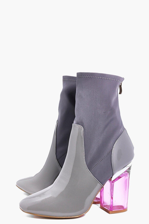 Boohoo Melissa Clear Heel Boot in Grey (Grey)