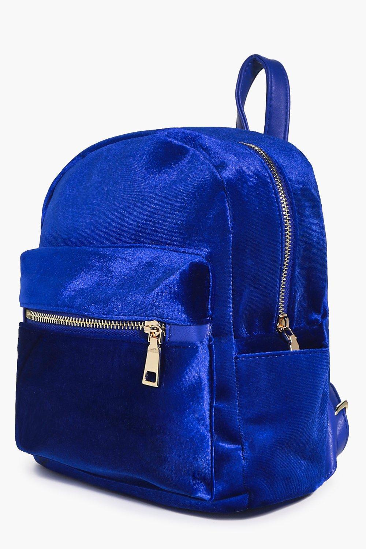Boohoo Felicity Velvet Backpack in Blue