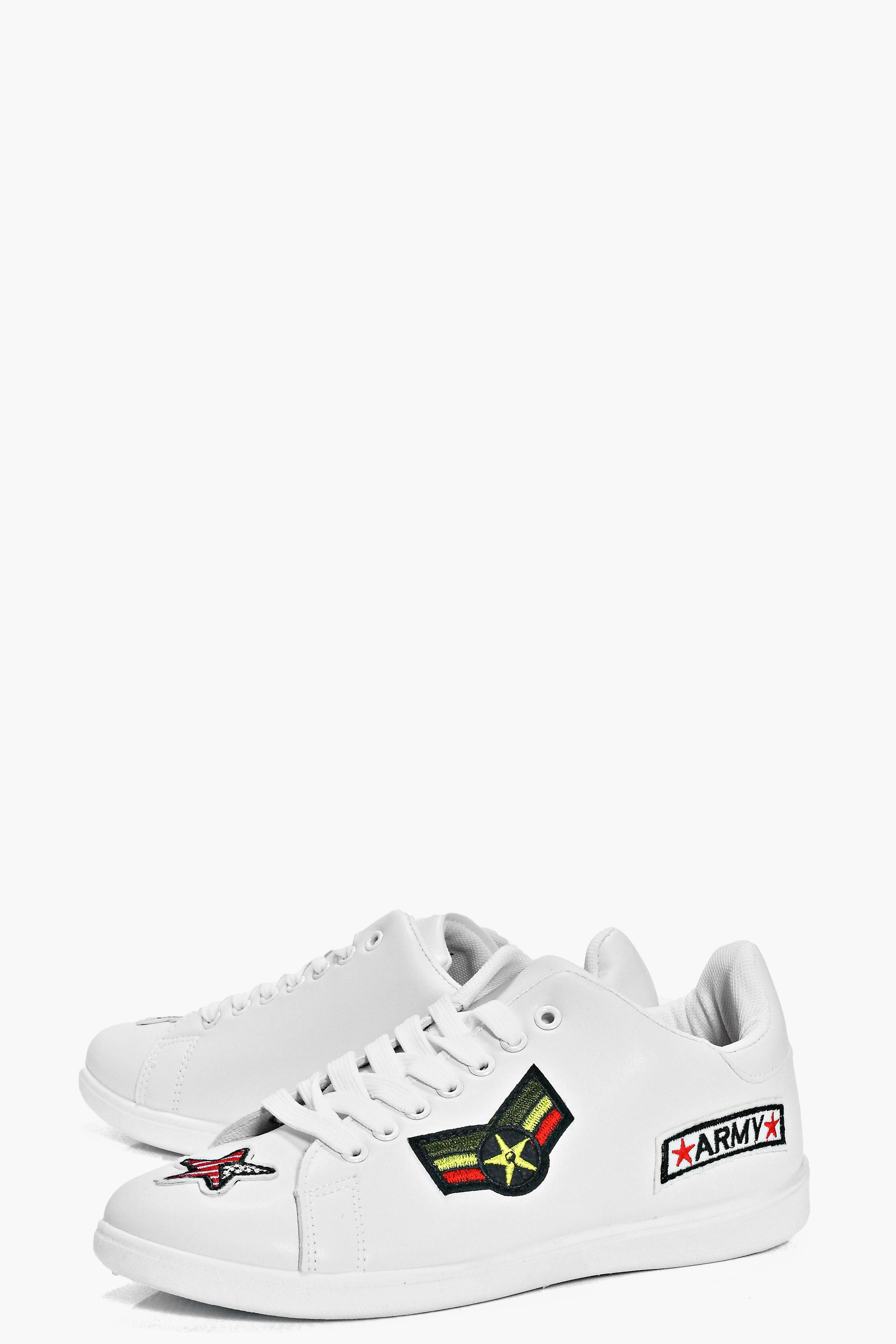 Boohoo Denim Martha Patch Work Lace Up Trainer in White