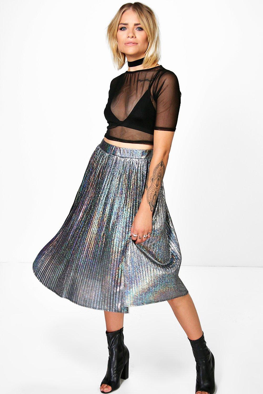 ec24ba37c Boohoo Bea Holographic Pleated Midi Skirt - Lyst
