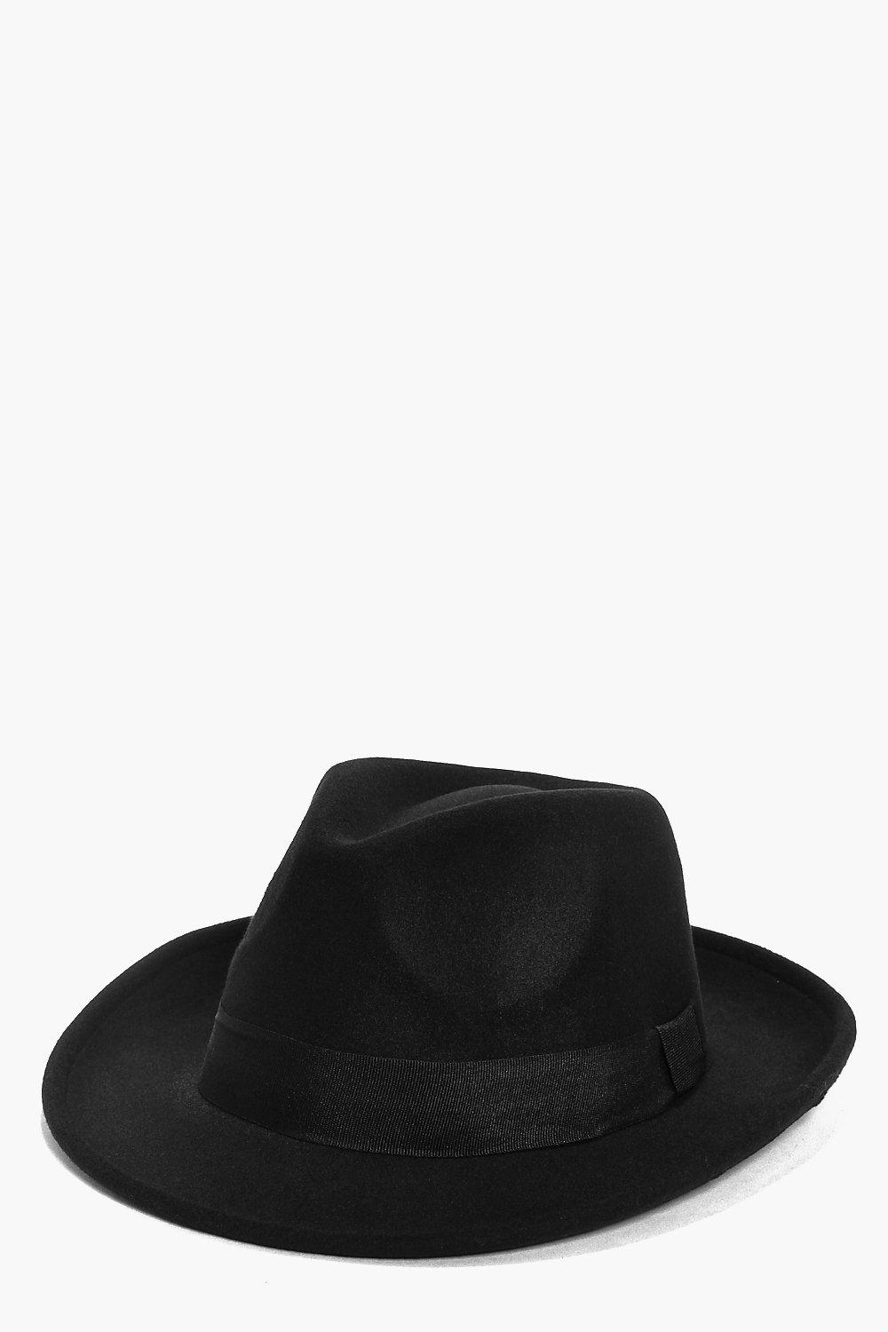 a06bc9331 Boohoo Rebecca Trilby Hat in Black for Men - Lyst