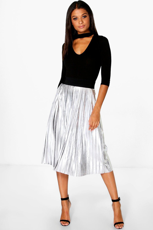 boohoo jeana metallic pleated midi skirt in metallic lyst