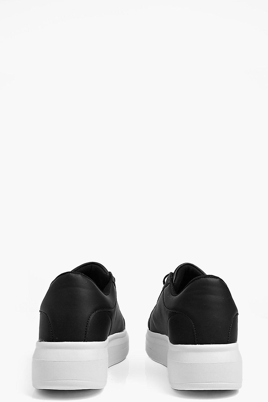 Boohoo Denim Elena Lace Up Platform Trainer in Black