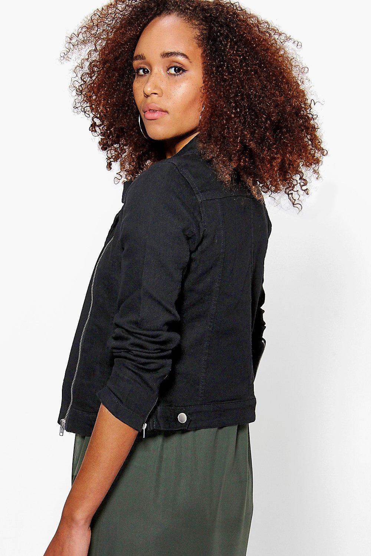 Boohoo Olivia Denim Biker Jacket in Black