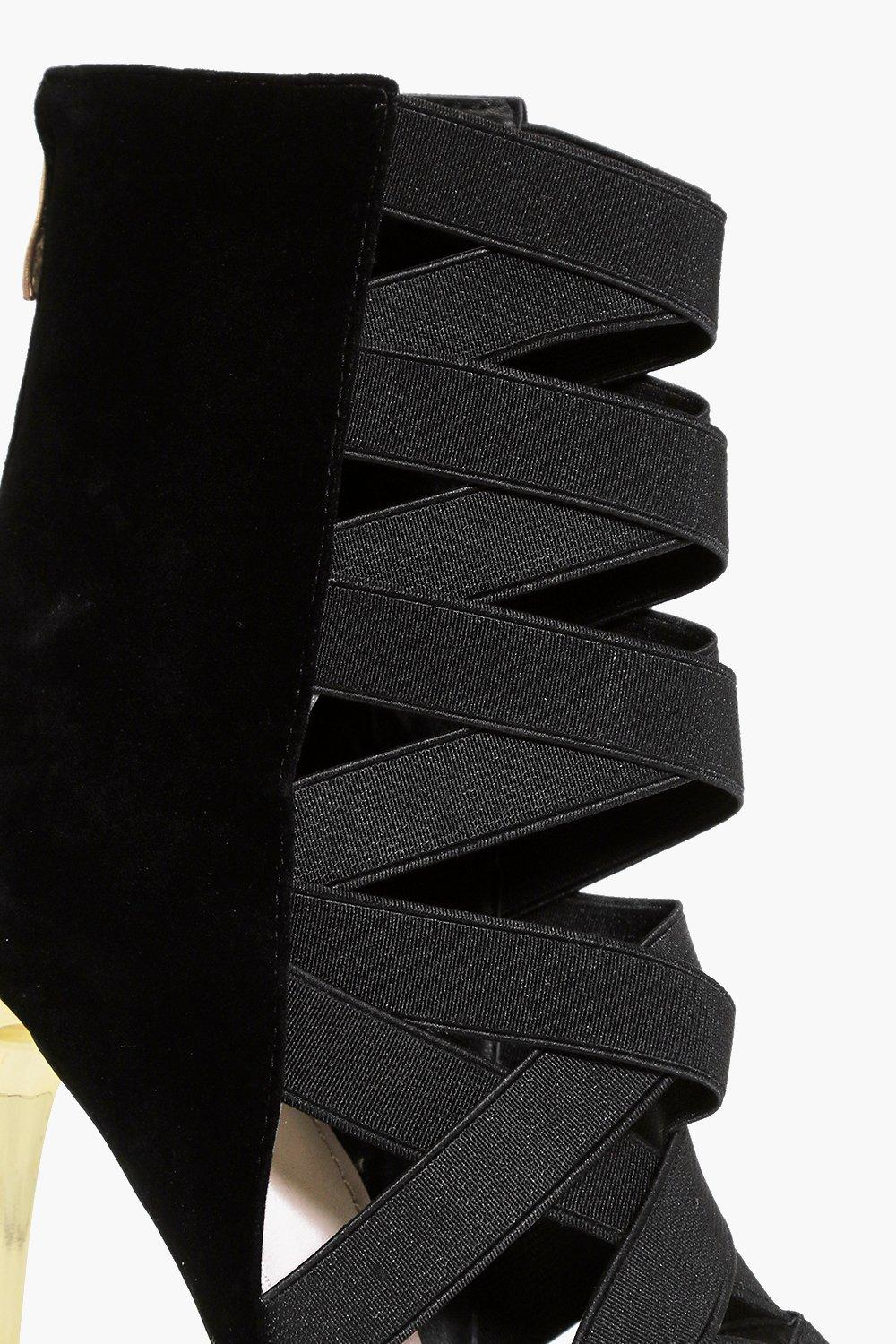 Boohoo Synthetic Lois Elastic Multi Strap Shoe Boot in Black
