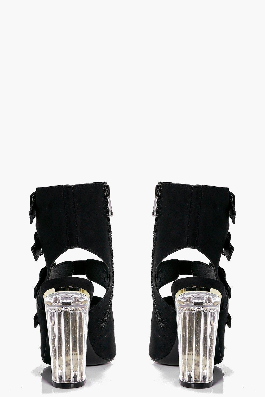 Boohoo Neve Clear Heel Buckle Shoe Boot in Black