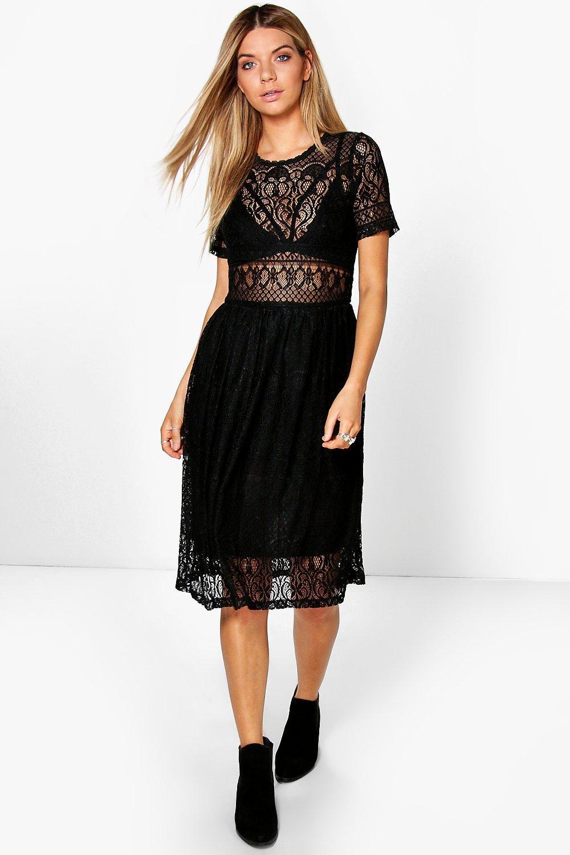 Lyst Boohoo Lenka Lace Midi Dress In Black