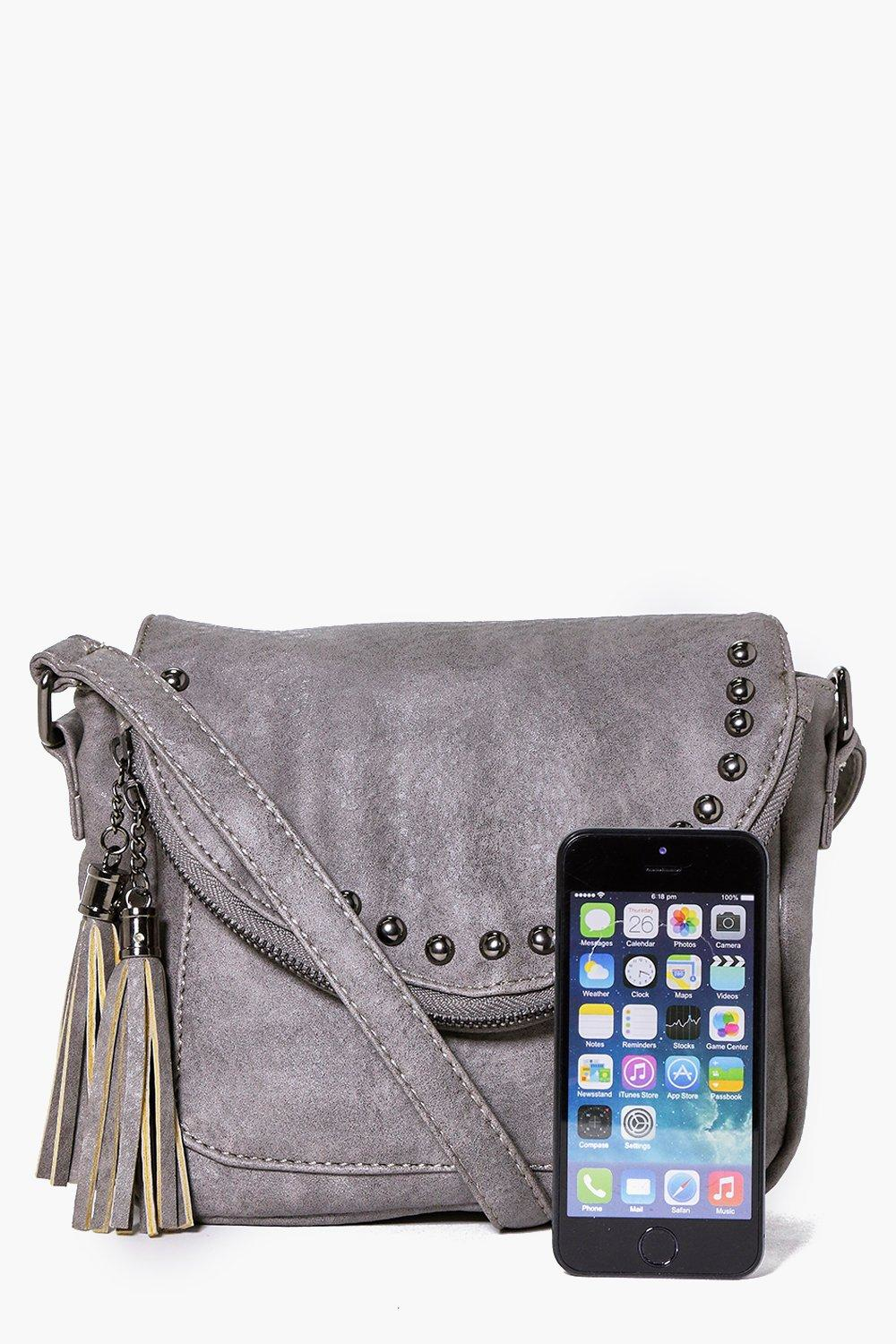 Boohoo Laura Stud And Tassel Cross Body Bag in Grey (Grey)