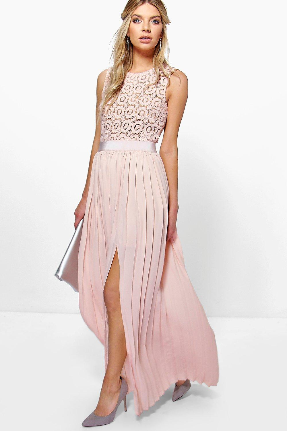Lyst Boohoo Boutique Cara Lace Top Pleated Maxi Dress In