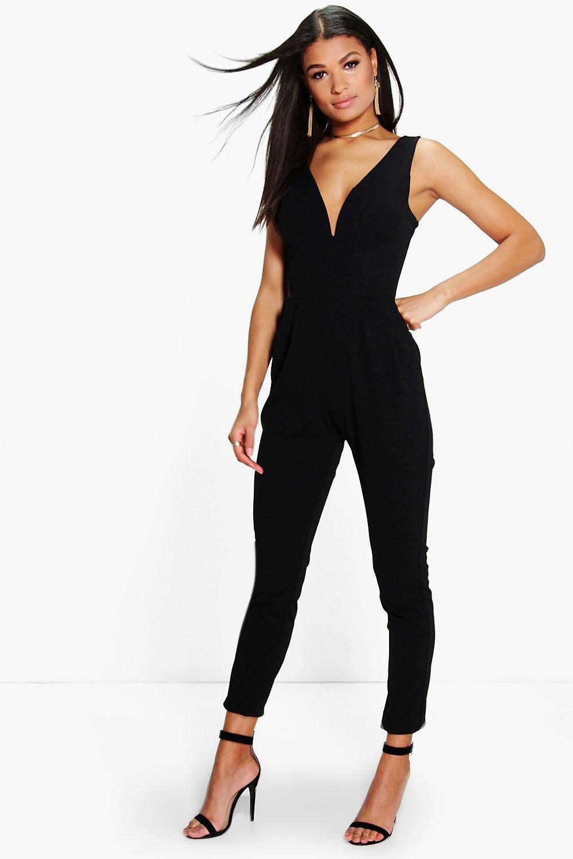 boohoo molly plunge skinny leg jumpsuit in black lyst. Black Bedroom Furniture Sets. Home Design Ideas