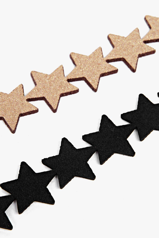 Boohoo Evie Star Repeat Choker 2 Pack in Black