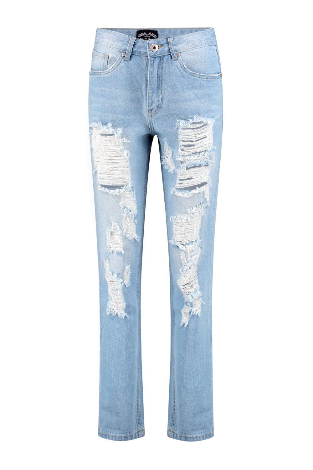 Boohoo Denim Molly Low Rise Distressed Boyfriend Jeans in Blue