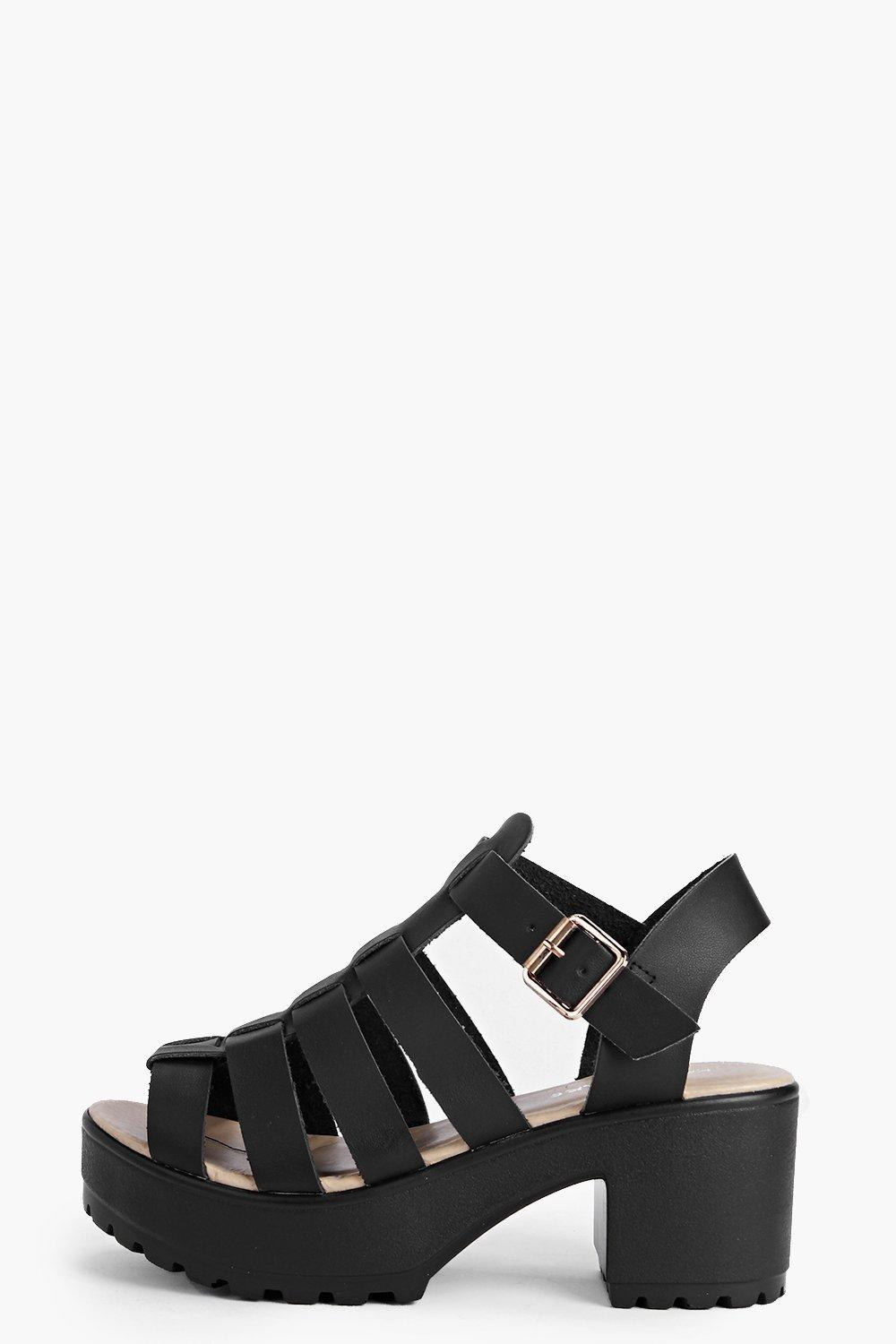 Black sandals boohoo