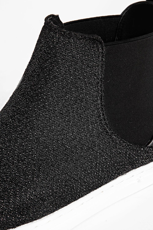 Boohoo Denim Maya Shimmer Elastic Insert Skater Boot in Black