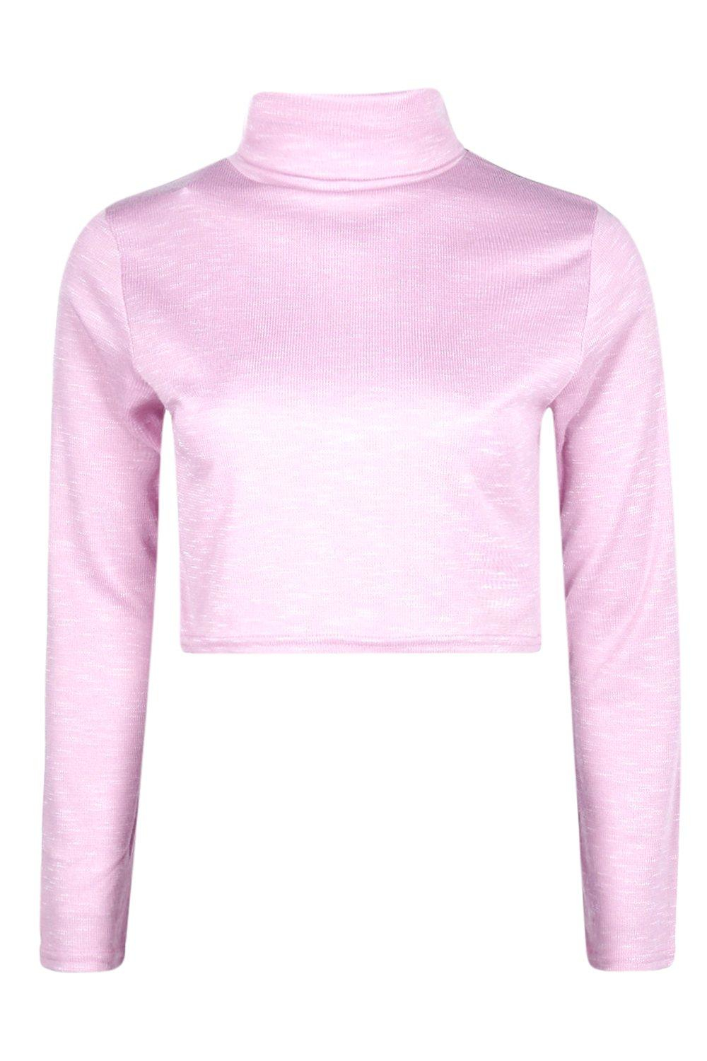 Boohoo Synthetic Helena Crop Roll Neck Jumper in Pink