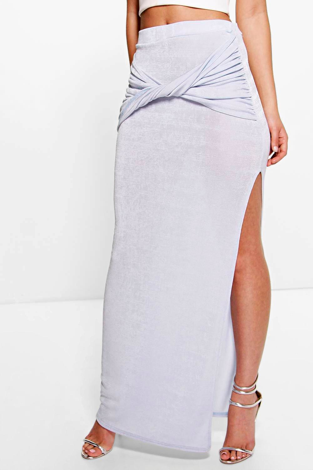 boohoo tamzin knot front side split maxi skirt in blue lyst