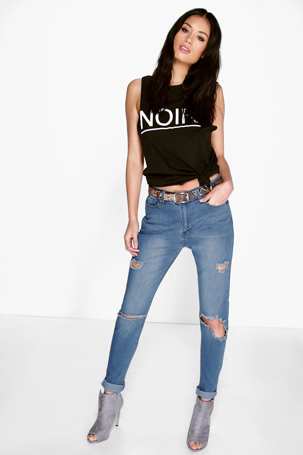 boohoo jenni high rise busted knee thigh skinny jeans in. Black Bedroom Furniture Sets. Home Design Ideas