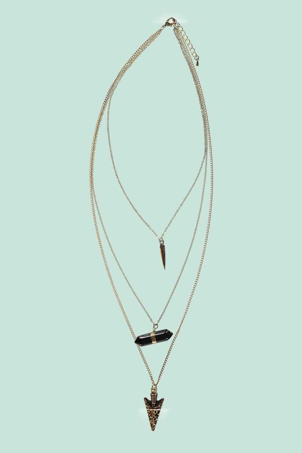 Boohoo Ruth Layered Spike And Crystal Necklace in Gold (Metallic)