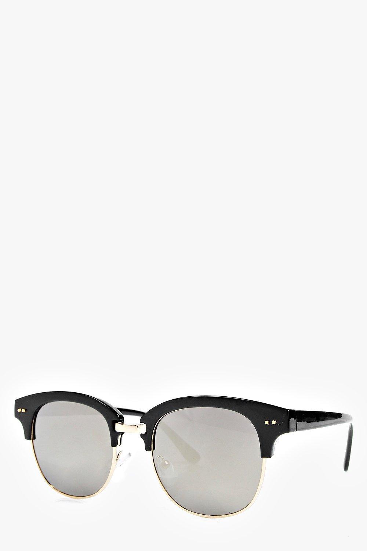 Boohoo Eva Mirrored Half Frame Fashion Glasses in Gold (Black)