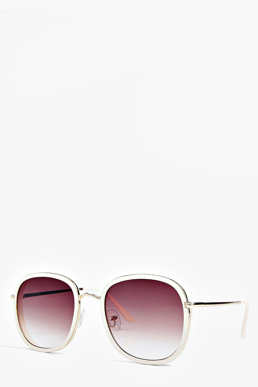 Boohoo Kayla Oversized Round Sunglasses in Nude (Pink)
