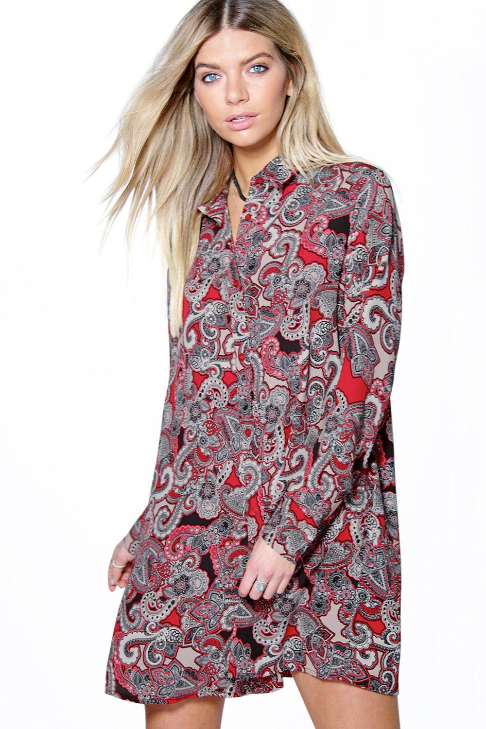Boohoo Sally Paisley Long Sleeve Shirt Dress In Red Lyst