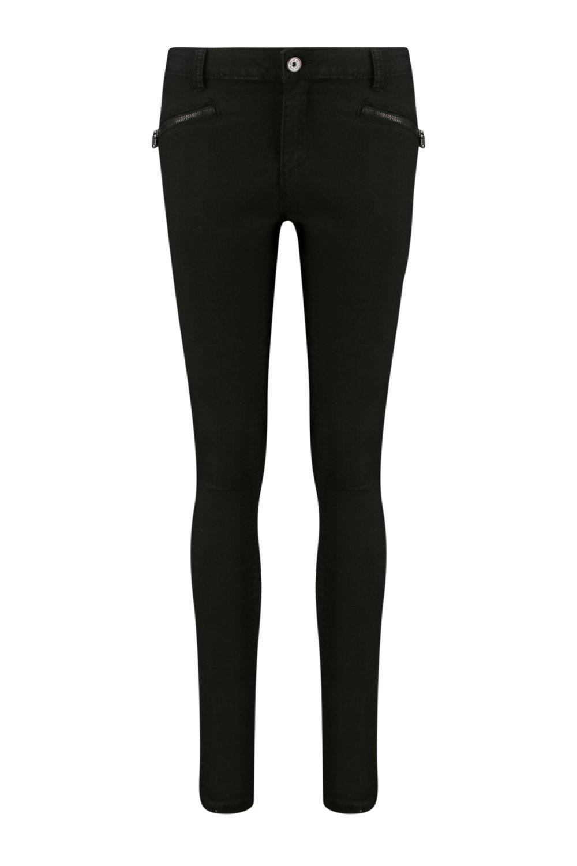 Boohoo Denim Jess Mid Rise Zip Detail Skinny Jeans in Black