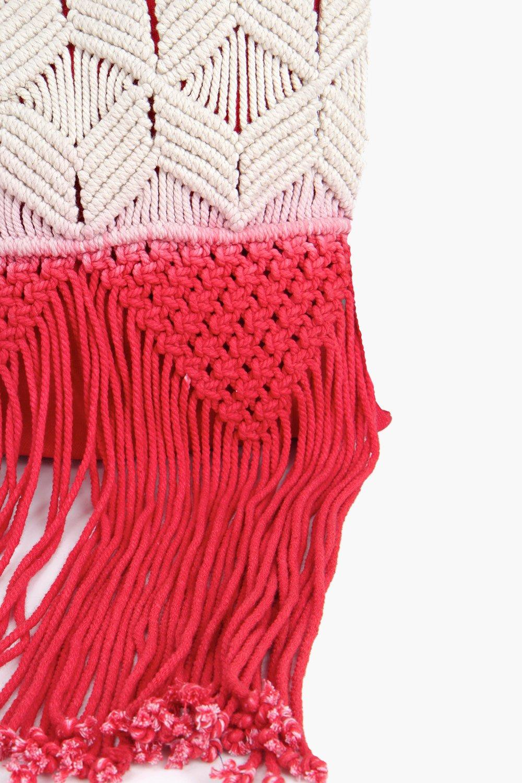 Boohoo Maya Ombre Crochet Cross Body Bag in Red