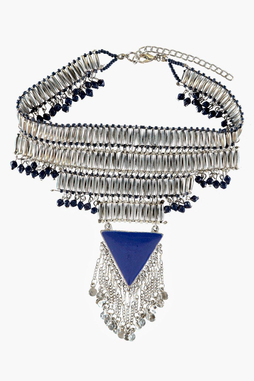 Boohoo Ava Triangle Statement Choker Necklace in Silver (Metallic)