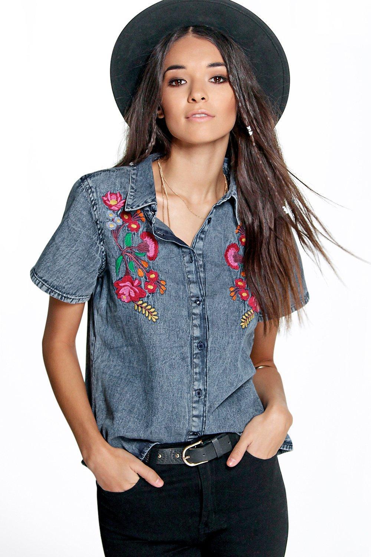 Boohoo julia embroidered denim shirt in blue lyst