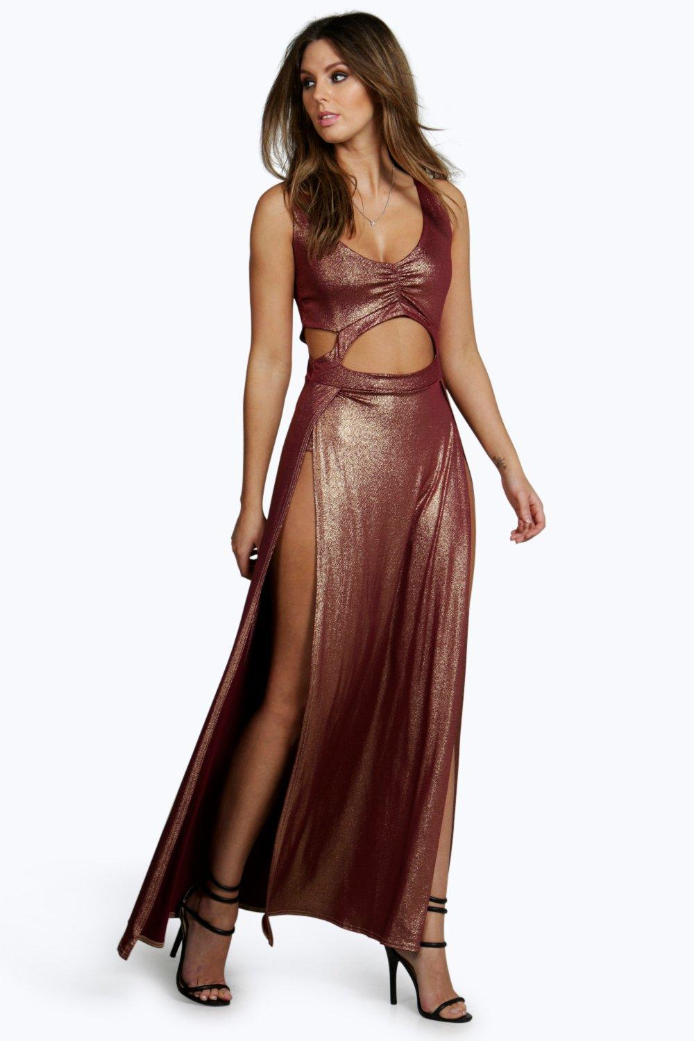 Boohoo Amber Metallic Thigh Split Cut Out Maxi Dress in ...