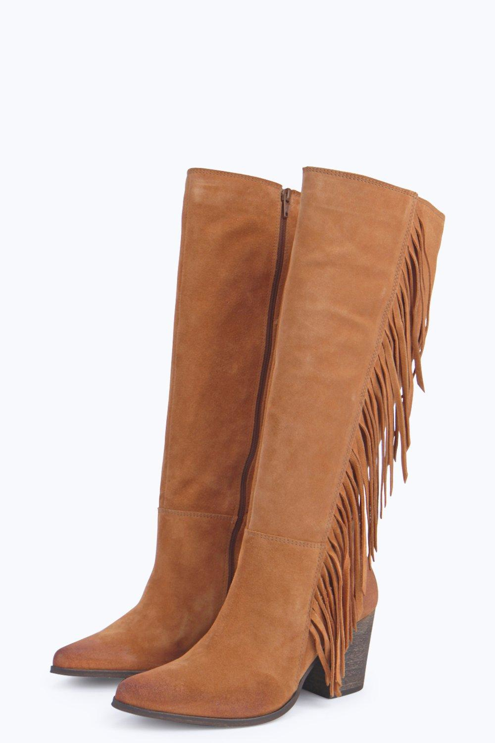Boohoo Boutique Isabel Leather Fringe Side Knee Boot in Tan (Brown)