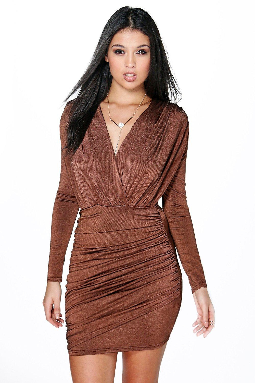Boohoo Mara Slinky Wrap Long Sleeve Bodycon Dress In Brown