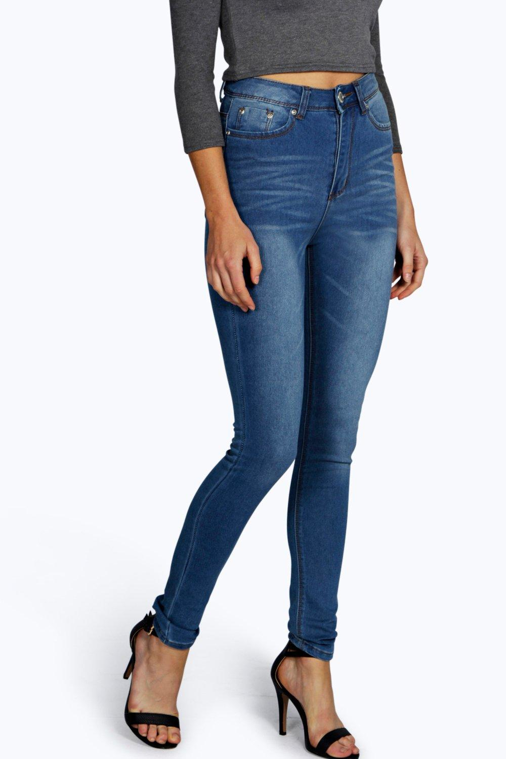 boohoo rhea classic high waisted skinny jeans in blue lyst. Black Bedroom Furniture Sets. Home Design Ideas