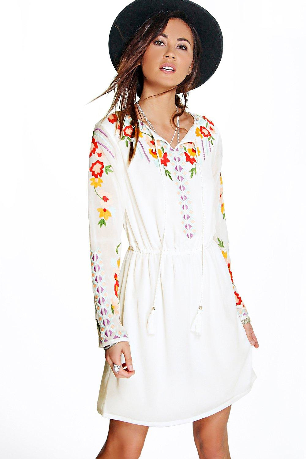 Boohoo boutique anya embroidered smock dress in white lyst