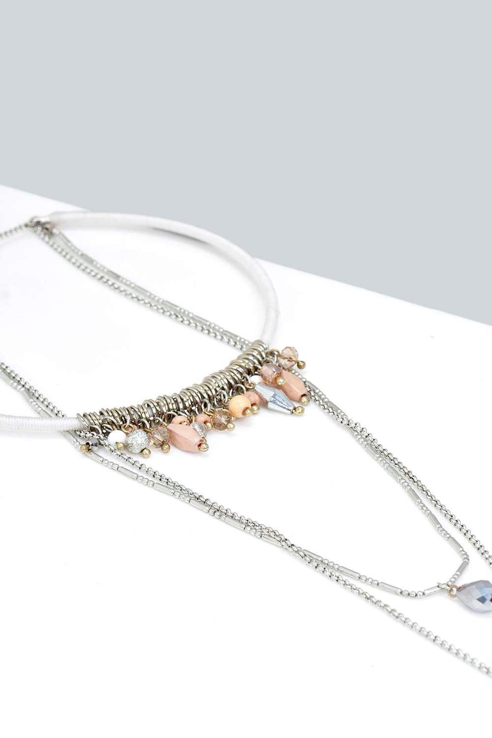 Boohoo Amber Choker And Plunge Necklace in Silver (Metallic)