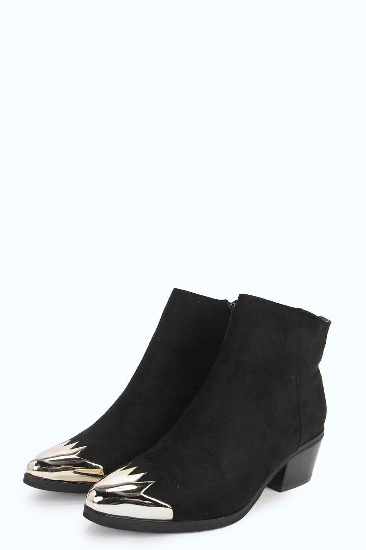 Boohoo Synthetic Rose Metal Toe Cap Pistol Boots in Black