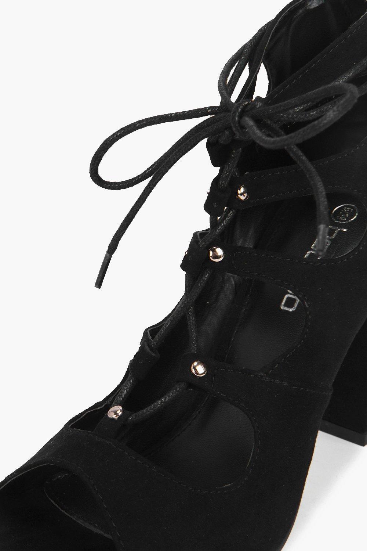 Boohoo Olivia Ghillie Peeptoe Shoe Boot in Black