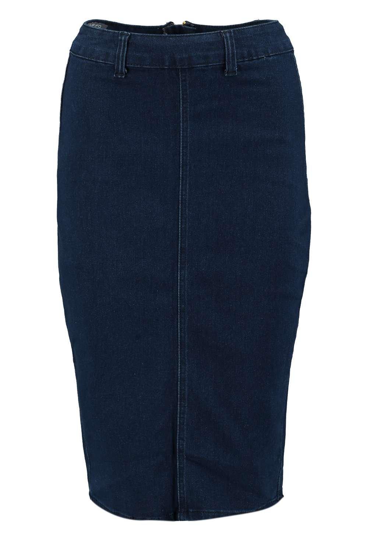 boohoo high waisted denim pencil skirt in blue lyst