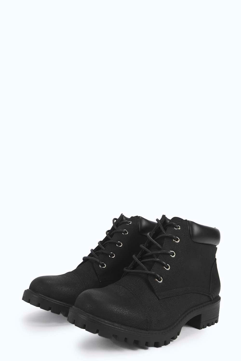 Boohoo Synthetic Amber Zip Trim Lace Up Hiker Boot in Black